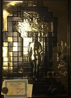 Lincoln in Dalivison (Gold Bas Relief) 1979 Sculpture by Salvador Dali