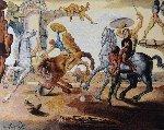 Bataille Autour D'un Pissenlit (Battle Around a Dandelion) Tapestry 1988  41x54   Tapestry - Salvador Dali
