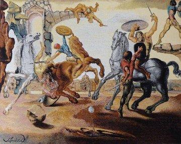 Bataille Autour D'un Pissenlit (Battle Around a Dandelion) Tapestry 1988  41x54   Tapestry by Salvador Dali