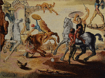 Battle Around a Dandelion Tapestry 42x54 Tapestry by Salvador Dali