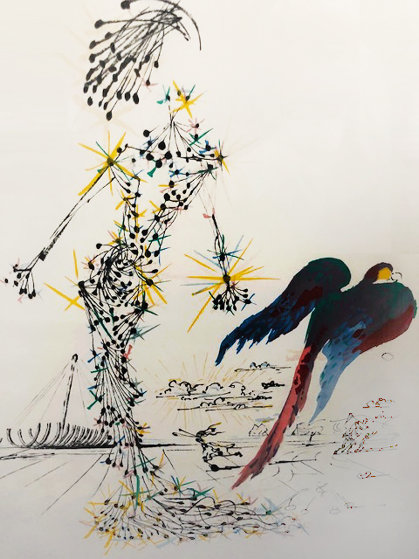 Lady With a Parrot 1987 by Salvador Dali