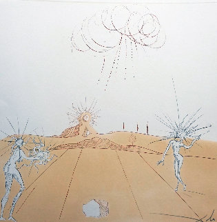 Neuf Paysages Paysage Avec Figures-Soleil From Sun 1980 Limited Edition Print by Salvador Dali