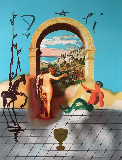 Christopher Columbus Discovers America (Jack of Swords) And Gateway to the New World, Set  Limited Edition Print by Salvador Dali