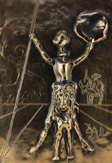 Don Quixote   Bronze  Bas Relief Sculpture 39x32 Sculpture by Salvador Dali