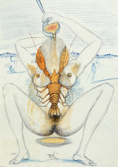 Nude And Lobster 1967 Limited Edition Print by Salvador Dali