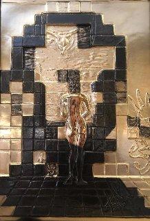 Lincoln in Dalivision Gold Bas Relief 1979  28x19 Sculpture - Salvador Dali