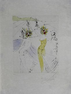 Hippies Flower Woman At the Piano 1969 (Early) Limited Edition Print - Salvador Dali