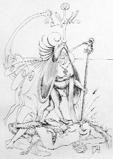 Les Songes Drolatiques De Pontagruel: Untitled (R) Black And White 1973 Limited Edition Print - Salvador Dali