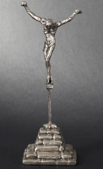 Christ of St. John of the Cross Silver Sculpture 2000 8 in Sculpture by Salvador Dali