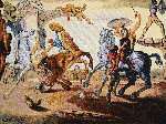 Battle Around a Dandelion Tapestry  1988  41x51  Tapestry - Salvador Dali