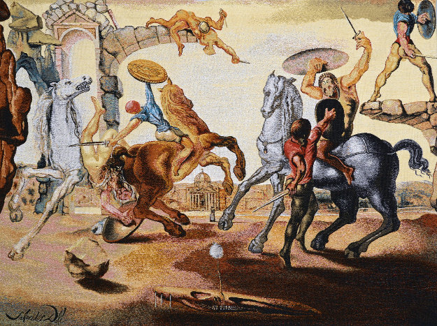 Battle Around a Dandelion Tapestry  1988  41x51  Tapestry by Salvador Dali