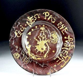 Ceci N\'est Pas Une Assiette  Daum Glass Plate   1970 10 in Other - Salvador Dali