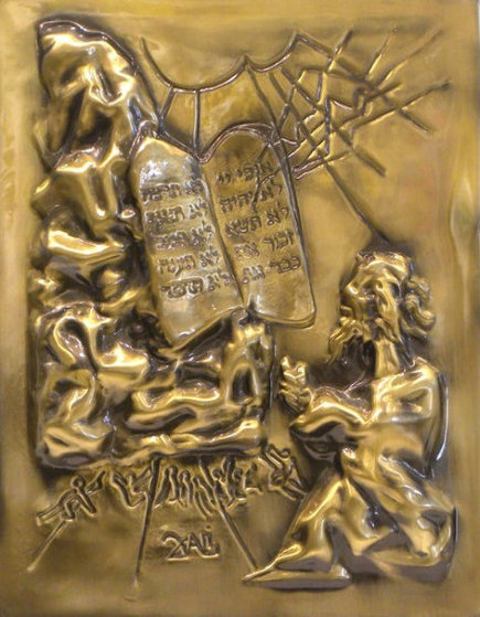 Ten Commandments Gold Bas Relief Sculpture 1979 25 in Sculpture by Salvador Dali