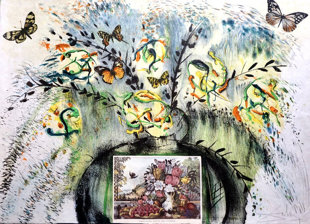Currier & Ives: Les Fleurs Et Fruite 1971 Limited Edition Print by Salvador Dali