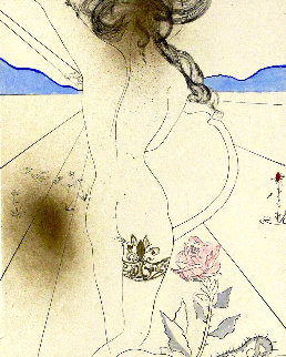 Les Hippies Suite: Nude With Garter Suite 1969 (Early) Limited Edition Print - Salvador Dali