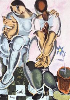 Deux Femmes Avec Pot De Fleur, Ceramic Tile 1960 20x15 Other - Salvador Dali