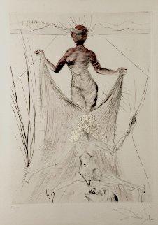 La Venus Aux Fourrures Woman Holding Veil 1968 (Early) Limited Edition Print by Salvador Dali