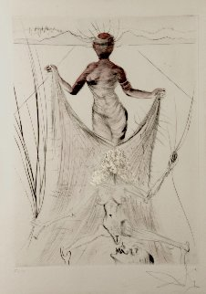 La Venus Aux Fourrures Woman Holding Veil 1968 (Early) Limited Edition Print - Salvador Dali