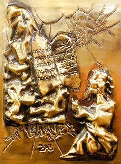Ten Commandments  Gold Bas Relief Sculpture 1979 25 in Sculpture - Salvador Dali