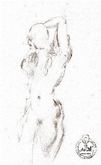 Etude Nu Féminin Du Face Drawing 1963 8x5 Drawing - Salvador Dali