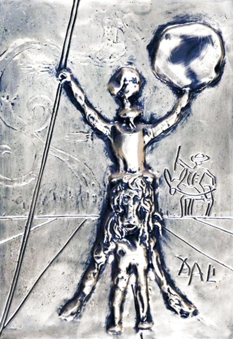 Don Quixote Silver Bas Relief Sculpture 27x34 Sculpture by Salvador Dali