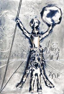 Don Quixote Silver Bas Refief Sculpture 27x34 Sculpture - Salvador Dali