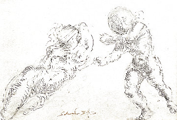 Venus and Cupid Drawing 1962 4x6 Works on Paper (not prints) - Salvador Dali