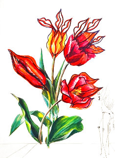 Florals Tulips Girafe En Feu 1972 Limited Edition Print - Salvador Dali
