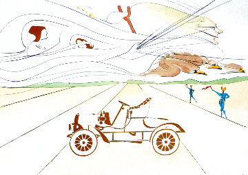Hommage a Leonardo Da Vinci: Invention of the Automobile 1975 Limited Edition Print - Salvador Dali