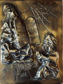 Ten Commandments Gold Patina Bas Relief 1979 Sculpture - Salvador Dali