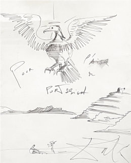 L'aigle Drawing 1980 50x40 Works on Paper (not prints) - Salvador Dali