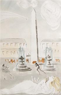 Gala Et L'obelisque De La Concorde 1963 (Paris) Limited Edition Print - Salvador Dali