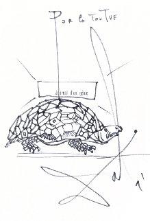 La Tortue Drawing 1964 8x9 HS Drawing - Salvador Dali