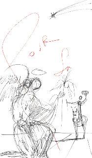 Ange à La Fleur Et Cavalier Drawing 1968 8x4 Drawing - Salvador Dali