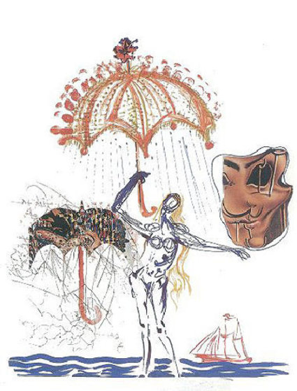 Objects and Imaginations Suite - Anti-Umbrella with Atomized Liquid 1975 Limited Edition Print by Salvador Dali
