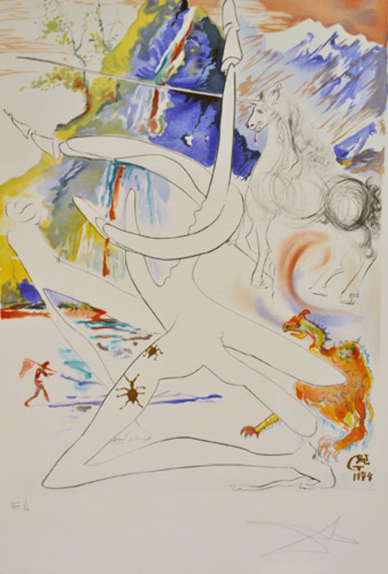 L 'unicorne Laser Desintegre Les Cornes De Rhino 1974 Limited Edition Print by Salvador Dali