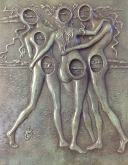 Three Graces Bas Relief Bronze Sculpture 1977 Sculpture by Salvador Dali