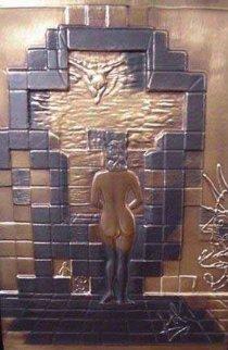 Lincoln in Dalivision Bronze Bas Relief 1976 Sculpture by Salvador Dali