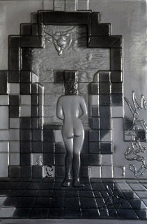 Lincoln in Dalivision Platinum Bas-Relief Sculpture 1979 Sculpture by Salvador Dali