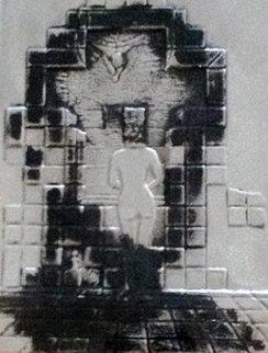 Lincoln in Dalivision Silver Bas Relief Sculpture 1979 Sculpture by Salvador Dali