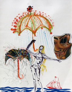 Anti-umbrella With Atomized Liquid, From Imaginations And Objects of the Future 1975 Limited Edition Print - Salvador Dali