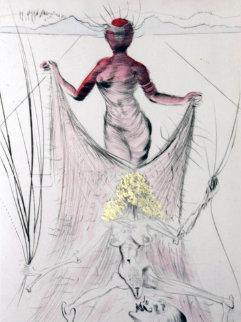 La Venus Aux Fourrures Woman Holding Veil 1968 Limited Edition Print - Salvador Dali