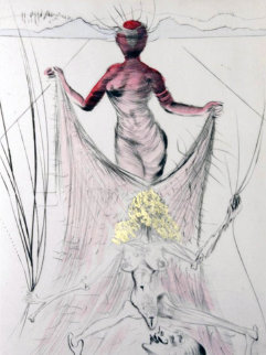 La Venus Aux Fourrures Woman Holding Veil 1968 Limited Edition Print by Salvador Dali