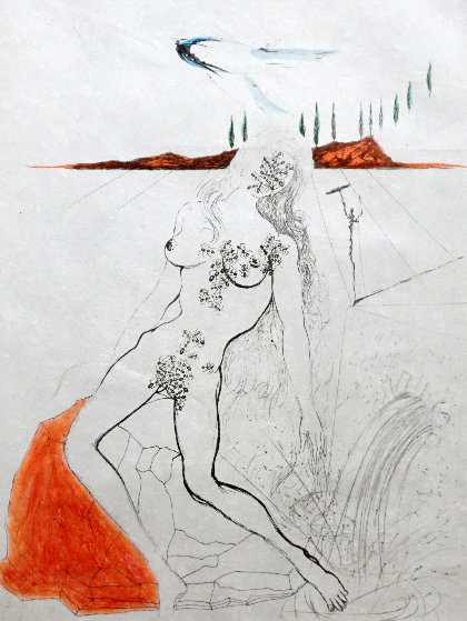 Poems Secrets Nude At the Fountain 1967  Limited Edition Print by Salvador Dali