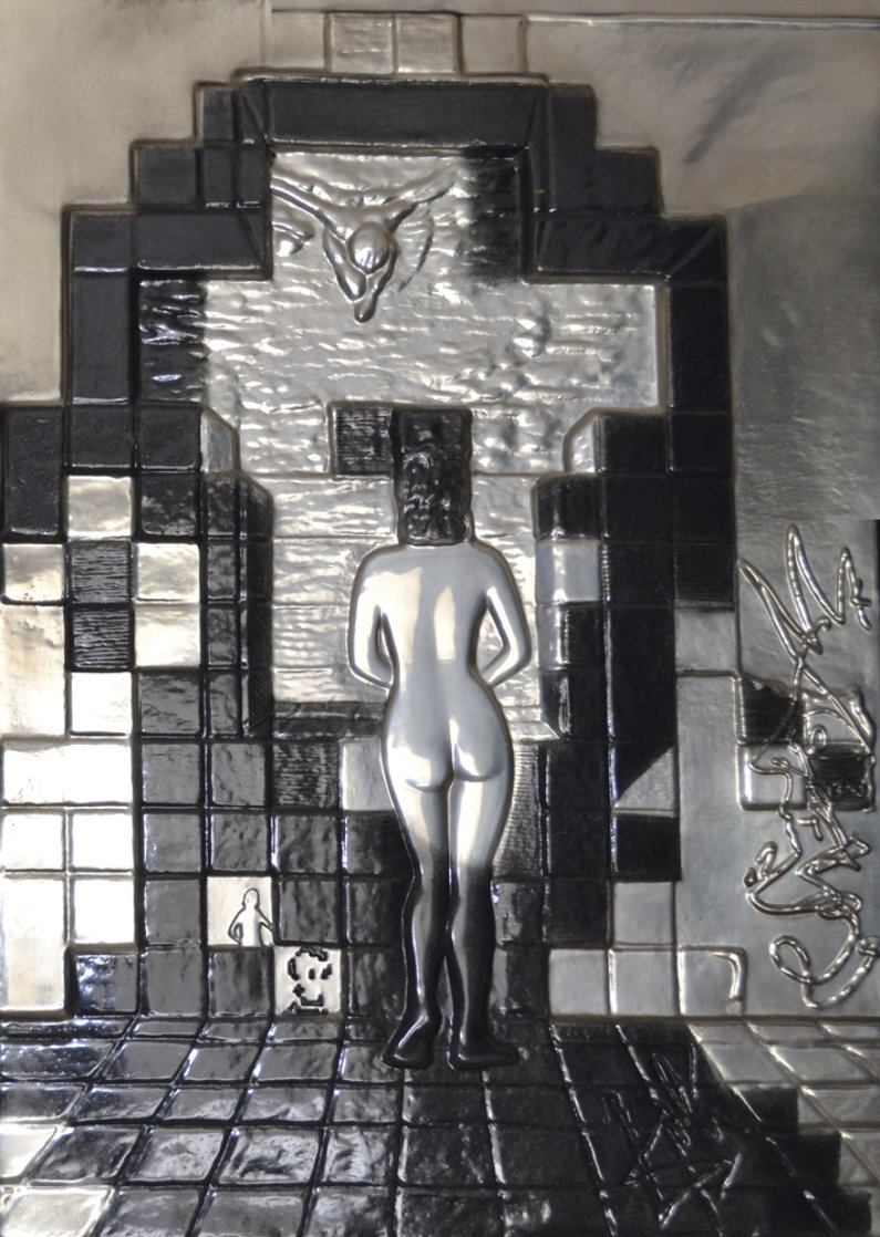 Lincoln in Dalivision Platinum Bas Relief Sculpture 1975 Sculpture by Salvador Dali