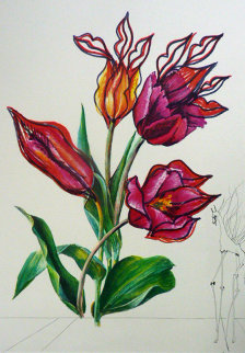 Tulips, Lips Giraffe En Feu From Florals Suite  1972 Limited Edition Print by Salvador Dali