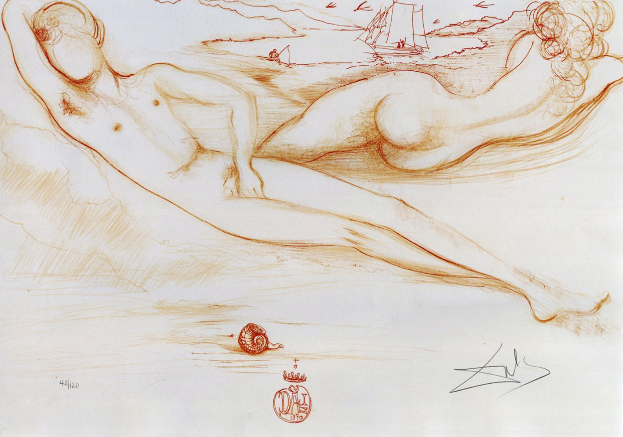 From Nudes, A La Plage 1970 Limited Edition Print by Salvador Dali