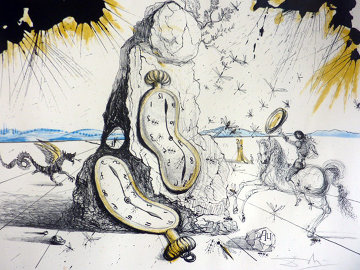 Cosmic Rays Resuscitating Soft Watches 1965  (Early, Fabulous and Rare)  Limited Edition Print by Salvador Dali