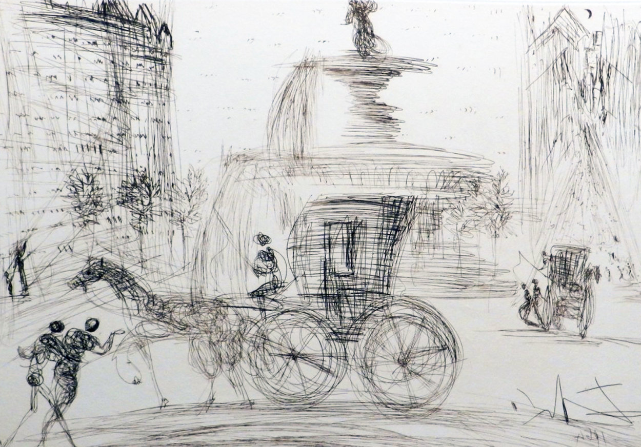 New York City Plaza 1964 (Early) Limited Edition Print by Salvador Dali