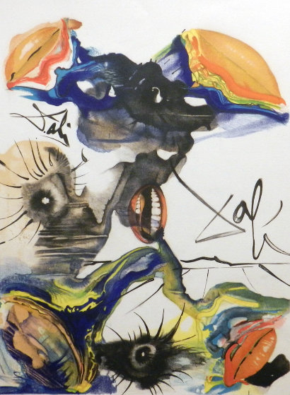 Butterfly and the Lips  1971 Limited Edition Print by Salvador Dali
